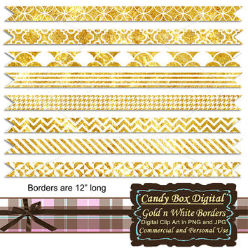 Gold and White Digital Ribbon, white and gold digital border, gold border, gold ribbon, white border, white ribbon - Commercial Use OK
