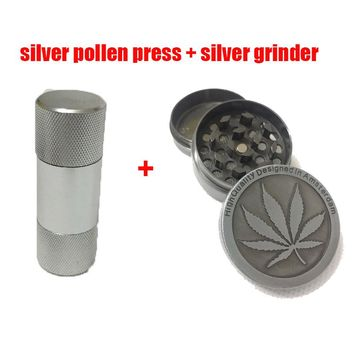 Pollen Compresor Press Smoke Pressure Device with Silver Grinder for Hookah Shisha Glass Pipe Water Pipe Tobacco Smoke Drop Ship