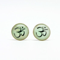 Green OM Post Earrings, Yoga & Buddhist Jewelry, Small resin earrings, stud earrings, Aum symbol