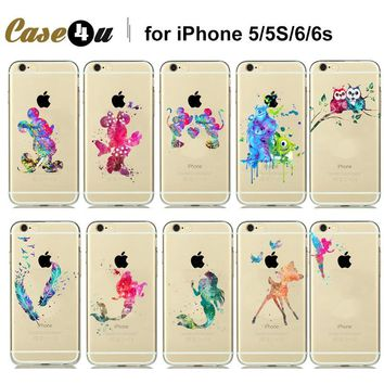Funny Minnie Mickey Mouse Couple Case Watercolor Soft Clear Cover For capinhas para iphone 7 Plus 6 6s Plus 5 5SE Silicone Cases