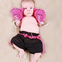 Boxing Champion Crochet Newborn baby suit crochet Newborn photo props photography