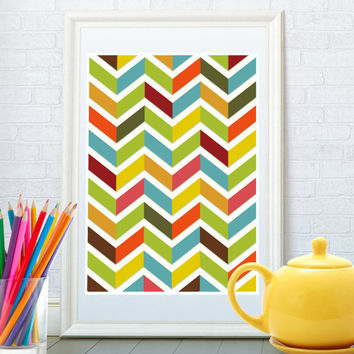 Abstract chevron colorful art print, Geometric poster, Kitchen art poster, Kid's home decor