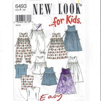 New Look for Kids 6493 Pattern for Sun Dress, Top, Romper, Short or Long, Girl Sizes 4 to 9, Easy, by Simplicity, Vintage Pattern, Home Sew