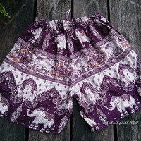 Purple Simi Exotic Boho Shorts For Summer with Elephant Print Aztec Ethnic Beach Hippie Clothing Cloth Ikat Boxers Baggy Style Women Gift