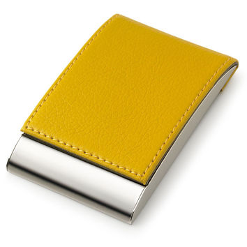 MG Gifts Metal Card Case W/Magnetic Lid Yellow PU Leatherette
