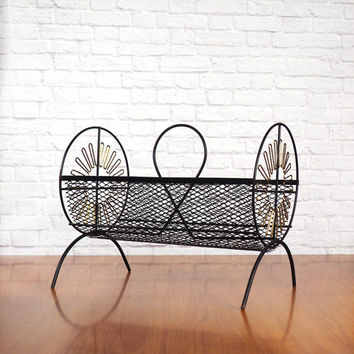 Retro Mid Century Magazine Rack, Black and Gold Metal Wire and Mesh Cylinder Magazine Holder, Basket