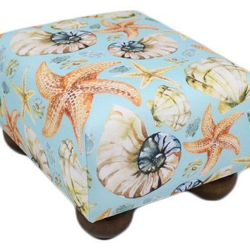 Aqua Blue Seashells Upholstered Fabric Footstool Ottoman