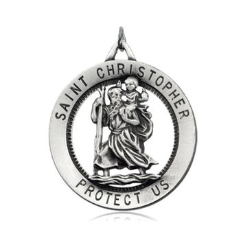 Sterling Silver 25mm St. Christopher Medal Necklace, 24 Inch