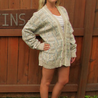 vintage oversized button down cardigan. Crossings. made in USA. cotton