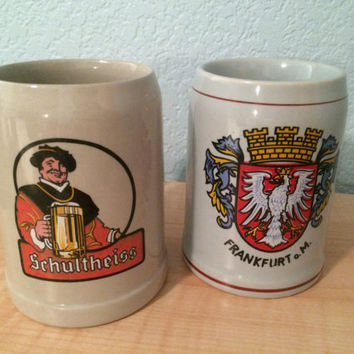 Set of 2 vintage hand painted German beer stein mugs - great Chriatmas gift for any man or the man who has everything!