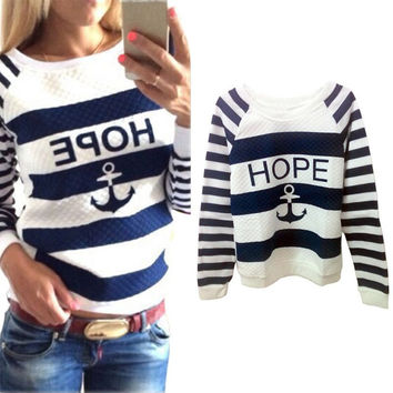 Women Hoodies Hot Anchors Striped Causal Tracksuit Blue White Patchwork Sweatshirts Ladies Pullover Free Shipping