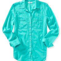Aeropostale  Womens Long Sleeve Solid Woven Shirt