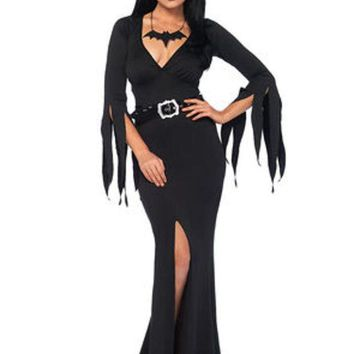 DCCKLP2 3PC.Immortal Mistress,deep-V body hugging dress,belt,bat necklace in BLACK