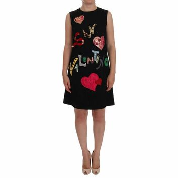 Dolce & Gabbana Black San Valentino Crystal Shift Dress