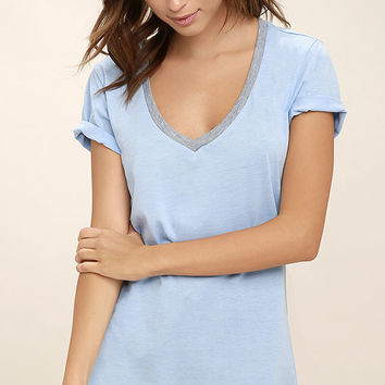 The Ringer Grey and Light Blue Tee