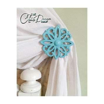 Curtain Tie Backs, Set of 2, Curtain, Tiebacks, Holdbacks, Aqua Blue