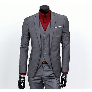 Men's Gray One Button Slim Fit Suit - Three Piece
