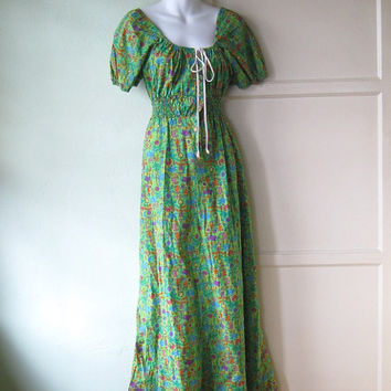 1970s Jungle/Tropical Print Green Maxi Dress - Medium Green Magic Bus Mama/ Hippie Peasant Maxi - Long Green Peasant Dress - Festival Maxi