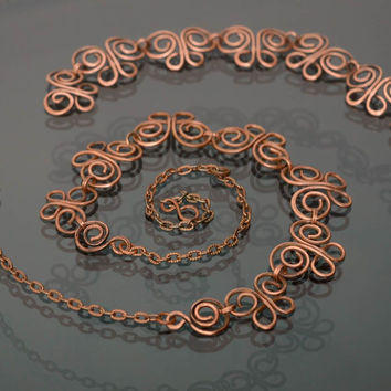 Wire wrap copper jewelry set of bracelet and necklace Spring Butterfly
