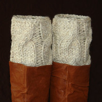 handmade crochet knit socks  boot cuffs leg warmers soft warm lambs wool beige ivory chunky yarn