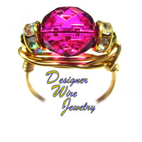 DWJ0575 Stunning Faceted Orchid Czech Art Glass Gold Wire Wrap Ring All Sizes