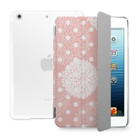BEANBEANCASE Ultra Thin Magnetic Smart Cover & Clear Back Case for Apple iPad Air 2 with elegant floral pattern (Pink)