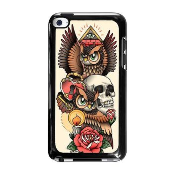 OWL STEAMPUNK ILLUMINATI TATTOO iPod Touch 4 Case Cover