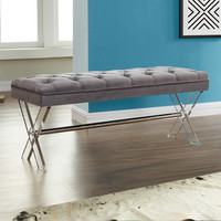 Armen Living Joanna Ottoman Bench in Gray Tufted Velvet with Crystal Buttons and Acrylic Legs