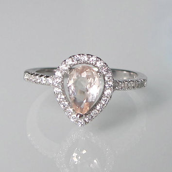 Pear Shape Morganite Ring- Engagement Ring- Promise Ring- Halo Morganite Ring- Gemstone Ring- Stone Ring- Tear Shape Ring- Ring
