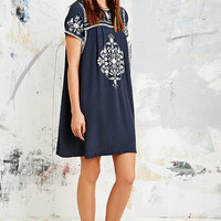 Little White Lies Mexican Embroidered Dress in Navy - Urban Outfitters