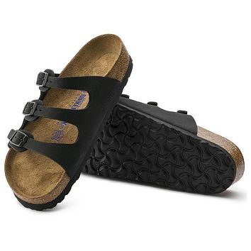 Best Online Sale Birkenstock Florida Soft Footbed Nubuck Leather Jet Black 954511 Sand
