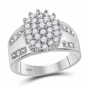 14kt White Gold Womens Round Prong-set Diamond Oval Cluster Ring 1/2 Cttw