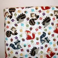 Woodland Animals Crib Sheet, Nursery Bedding, Squirrel, Fox, Hedgehog Sheet