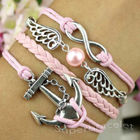 Pink pearl bracelet - silver infinity bracelet - chic anchor bracelet - pink leather cord bracelet - the blessings of friendship