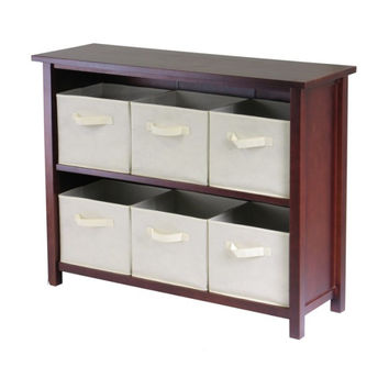 Verona 2-Section W Storage Shelf with 6 Foldable Beige Fabric Baskets