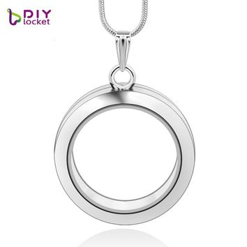 diylocket 8 style 30mm silver round floating charms locket zinc alloy magnetic silver glass round floating locket with chains