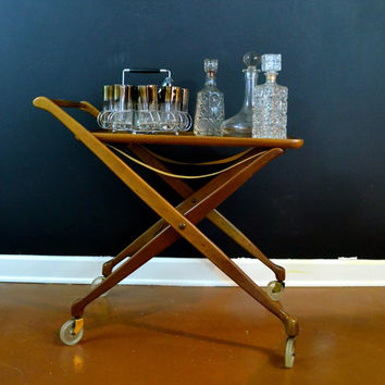 Vintage Teak Wood Bar Cart, Danish Modern Cart, Mid Century Rolling Cart, Folding Cart with Removable Serving Tray