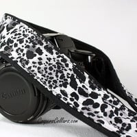 White Leopard dSLR Camera Strap, Grey, Black, Spotted, Cat, SLR