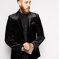 ASOS | ASOS Slim Fit Blazer In Glitter Velvet at ASOS
