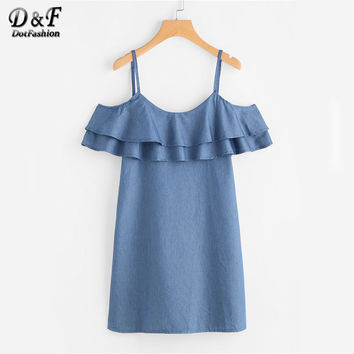Dotfashion Tiered Frill Trim Chambray Cute Dress Summer Cold Shoulder Short Sleeve Tent Dress Ladies Ruffle Denim Dress