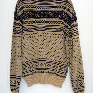 Vintage 80s Digital Pixel Knit Brown Slim Pullover Acrylic Ski Sweater L