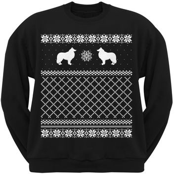 Collie Black Adult Ugly Christmas Sweater Crew Neck Sweatshirt