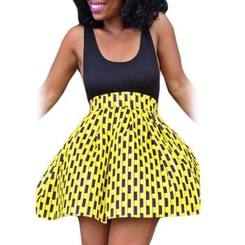 Yellow Spotted Print Skater African Style Mini Skirt