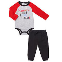 "Koala Baby Boys 2 Piece Gray/Black ""Grandma said I can do it!"" Long Sleeve Raglan Bodysuit and Pant Playwear Set"