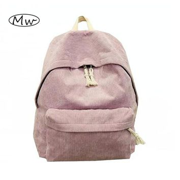 New Seven Colors Solid Corduroy Backpack Simple Women Backpack College Style School Bags For Teenager Girls Casual Travel Bag