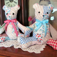 Teddy Bear Made from Re-Purposed Quilt / Handmade Sewn Teddy Bear from Old Quilt