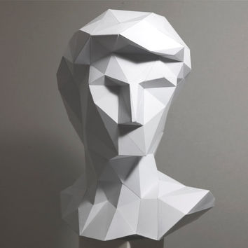 Paper Sculpture. Mens head. Papercraft. Decor. David. Aid for drawing studies