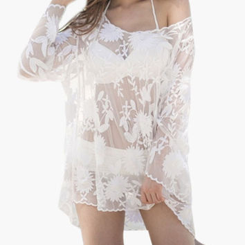 White Floral Lace Long Sleeve Cover-up