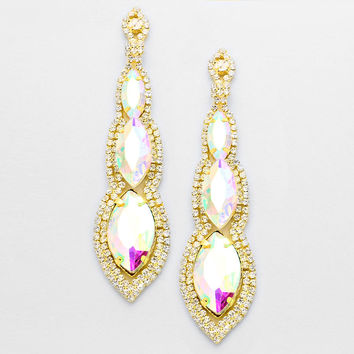 """"""" Abyss"""" Triple Drop AB Iridescent Crystal Chandelier Earrings Gold Tone"""