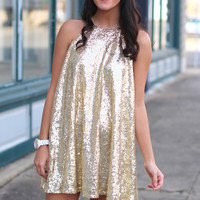 Sequin Swing Dress {Gold}
